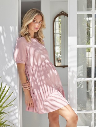 Forever New Jane Mini Smock Dress - Soft Rose - 10