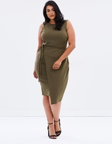 Textured Pencil Dress With Skinny Belt