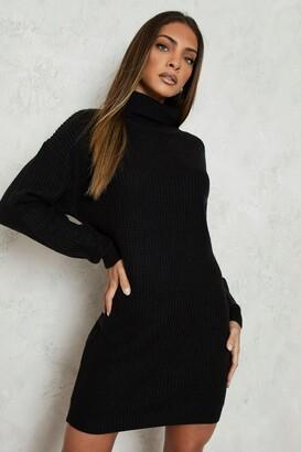boohoo Turtleneck Fisherman Sweater Dress