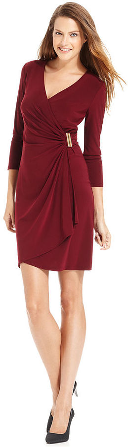 Calvin Klein Dress, Three-Quarter-Sleeve Faux-Wrap