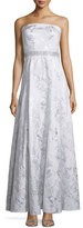 Carmen Marc Valvo Strapless Embellished-Waist Gown, Silver