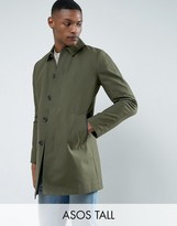 Asos TALL Shower Resistant Single Breasted Trench Coat In Khaki