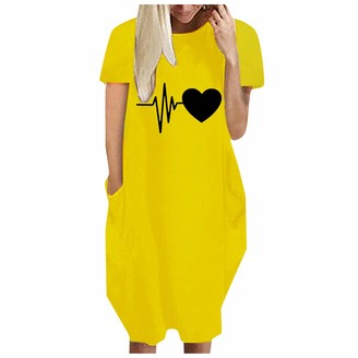 hollywin Ladies Casual Love Print Short Sleeve Loose Round Neck Dress Yellow
