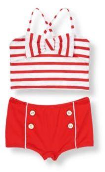 Janie and Jack Bow Stripe Two-Piece Swimsuit