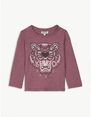 Kenzo Tiger logo long-sleeved cotton T-shirt 6-36 months