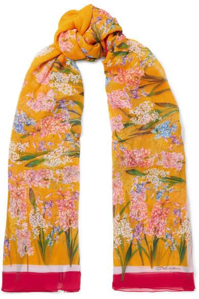 Dolce & Gabbana Floral-print Silk-crepon Scarf - Saffron