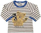 Milk On The Rocks Bear Print Striped Cotton Sweatshirt