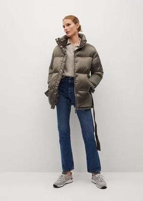 MANGO Belt quilted coat medium brown - XS - Women