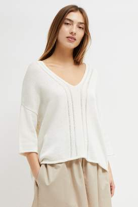 French Connection Philox Tape Yarn V Neck Jumper