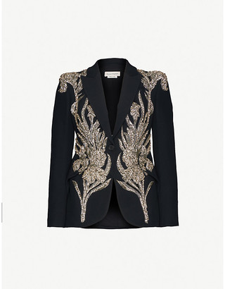 Alexander McQueen Floral-embellished single-breasted wool-blend blazer