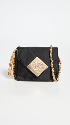 What Goes Around Comes Around Chanel Black Satin Envelope Flap Small Bag