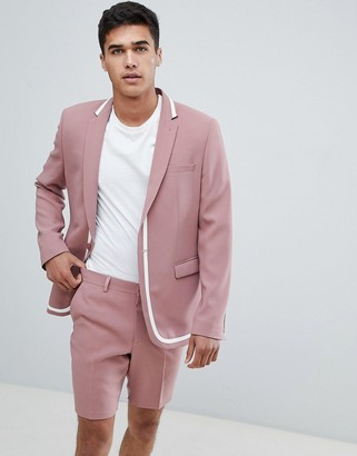 ASOS DESIGN skinny suit jacket in pink with white trim