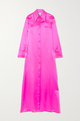 Halpern Neon Silk-satin Gown - Bright pink