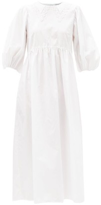 Cecilie Bahnsen Mette Lace-trimmed Tie-back Cotton Dress - White
