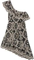 LoveShackFancy - Pamela One-shoulder Broderie Anglaise Cotton Dress - Black