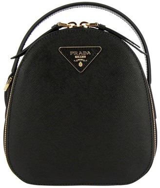 Prada Odette Mini Backpack In Saffiano Leather With Triangular Logo