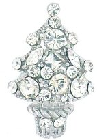 PYNK JEWELLERY Small Silver Plated & Swarovski Crystal Christmas Tree Brooch