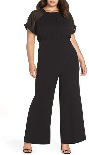 Chiffon Sleeve Crepe Jumpsuit (Plus Size)