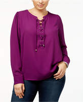 INC International Concepts Plus Size Lace-Up Blouse, Created for Macy's