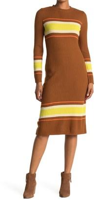 Lush Striped Long Sleeve Sweater Dress