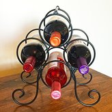 Superiore Livello Roma 4 Bottle Countertop Wine Rack, Metal Wine Holder Free Standing Rack Table Top Modern Scroll Art Design 4 Wine Bottle Storage Rack Perfect Wine Holder Stand