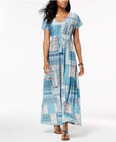 Style&Co. Style & Co Printed Drawstring Maxi Dress, Created for Macy's