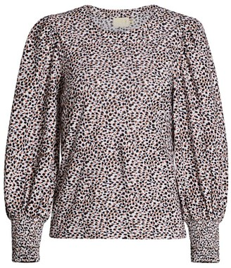 Nation Ltd. Loren Slim-Fit Leopard Blouse