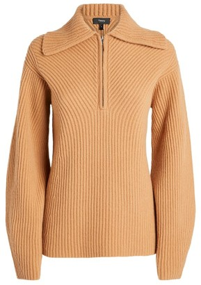 Theory Ribbed Half-Zip Sweater