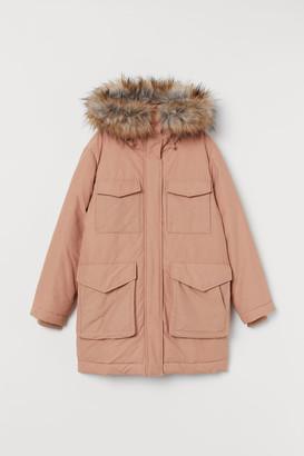 H&M Padded Parka with Hood - Orange