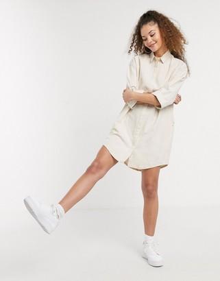 Monki organic cotton denim shirt dress in off white
