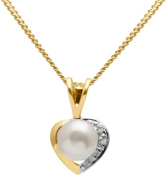 A B Davis 9ct Gold Diamond and Freshwater Pearl Heart Pendant Necklace