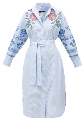 Max Mara Giga Dress - Womens - Blue Multi