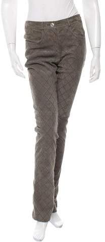 Chanel Quilted Suede-Blend Pants w/ Tags
