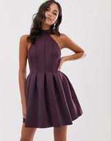 Asos Design DESIGN seamed halter mini prom dress