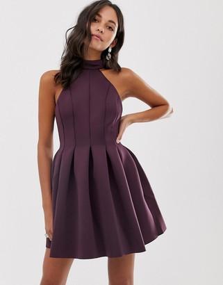 Asos Design DESIGN seamed halter mini prom dress-Red