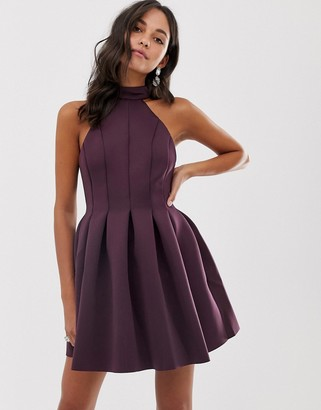ASOS DESIGN seamed halter mini prom dress