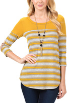 Magic Fit Mustard Stripe Elbow Patch Scoop Neck Tee