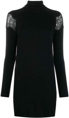 Blumarine Be Lace Panel Roll Neck Dress