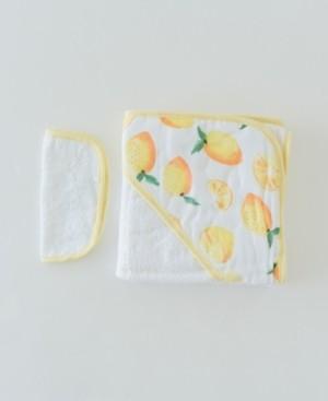 Little Unicorn Lemon Cotton Hooded Towel Wash Cloth Set