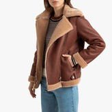 La Redoute Collections Faux Leather Aviator Biker Jacket with Faux Fur Lining and Pockets