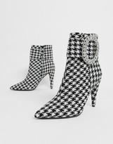 Asos Design DESIGN Eclectic diamante buckle boots in check
