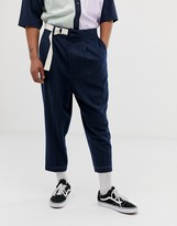 Asos Design DESIGN drop crotch tapered smart pants in navy with d-ring belt