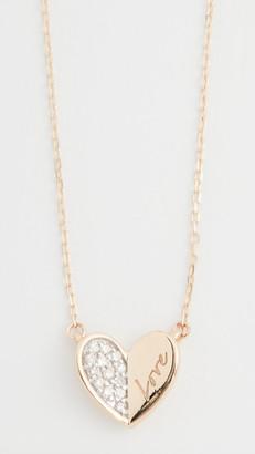 Adina 14k Love Pave Folded Heart Necklace