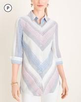 No Iron Petite Linen Striped Shirttail-Hem Tunic