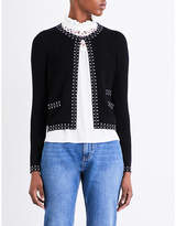 Claudie Pierlot Maxence embellished stretch-crepe cardigan