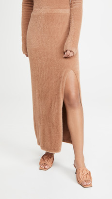 Sally LaPointe Soft Teddy Fitted Maxi Skirt With Slit