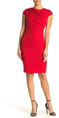 Alexia Admor Ester Pleated Neck Sheath Dress