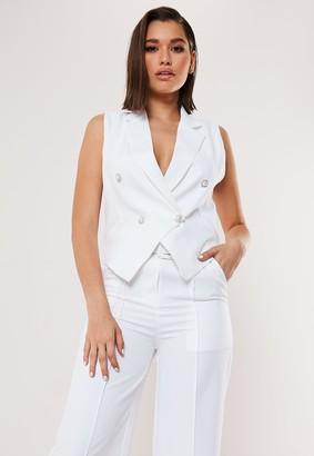 Missguided White Co Ord Sleeveless Tux Blazer