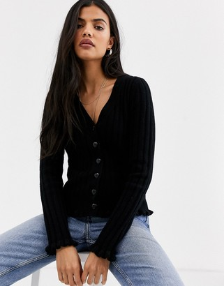 And other stories & button through ribbed cardigan in black