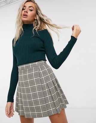 Bershka ribbed roll neck jumper in forest green